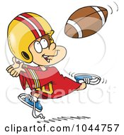 Royalty Free RF Clip Art Illustration Of A Cartoon Boy Catching A Football by toonaday