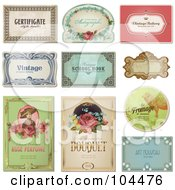 Royalty Free RF Clipart Illustration Of A Digital Collage Of Vintage Certificate And Label Designs by Anja Kaiser #COLLC104476-0142