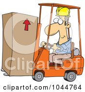 Cartoon Forklift Operator Moving A Box
