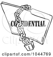 Royalty Free RF Clip Art Illustration Of A Cartoon Black And White Outline Design Of A Chain And Lock Over A Confidential Folder