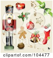 Digital Collage Of A Toy Soldier Gift Box Holly Ornament Gingerbread Man Walnut Bells Stocking Bow And Merry Christmas Star