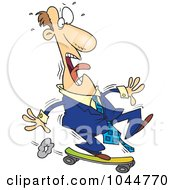 Royalty Free RF Clip Art Illustration Of A Cartoon Foolish Businessman Riding A Skateboard by toonaday