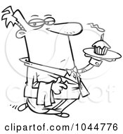Royalty Free RF Clip Art Illustration Of A Cartoon Black And White Outline Design Of A Formal Waiter Serving A Cupcake