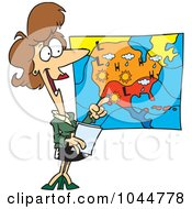 Royalty Free RF Clip Art Illustration Of A Cartoon Weather Girl Reading The Forecast by toonaday