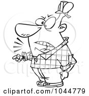 Cartoon Black And White Outline Design Of A Foreman Yelling And Pointing