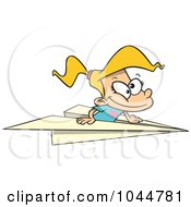 Royalty Free RF Clip Art Illustration Of A Cartoon Girl Flying In A Paper Plane by toonaday