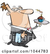 Royalty Free RF Clip Art Illustration Of A Cartoon Formal Waiter Serving A Cupcake
