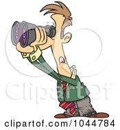Royalty Free RF Clip Art Illustration Of A Cartoon Businessman Viewing The Forecast Through Binoculars