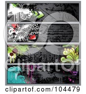 Royalty Free RF Clipart Illustration Of A Digital Collage Of Dark Grungy Graffiti Banners With Waves Drips Splatters And Arrows by Anja Kaiser