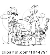 Royalty Free RF Clip Art Illustration Of A Cartoon Black And White Outline Design Of A Folk Music Band by toonaday