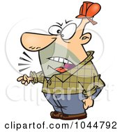 Royalty Free RF Clip Art Illustration Of A Cartoon Foreman Yelling And Pointing