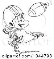 Royalty Free RF Clip Art Illustration Of A Cartoon Black And White Outline Design Of A Boy Catching A Football