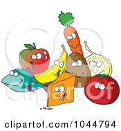 Royalty Free RF Clip Art Illustration Of A Cartoon Group Of Foods by toonaday
