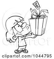 Royalty Free RF Clip Art Illustration Of A Cartoon Black And White Outline Design Of A Cute Girl Holding A Fathers Day Gift by toonaday