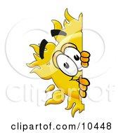 Sun Mascot Cartoon Character Peeking Around A Corner