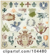 Royalty Free RF Clipart Illustration Of A Digital Collage Of Heraldry Design Elements On Beige by Anja Kaiser