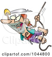 Royalty Free RF Clip Art Illustration Of A Cartoon Attacking Pirate Swinging On A Rope by toonaday