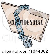 Royalty Free RF Clip Art Illustration Of A Cartoon Chain And Lock Over A Confidential Folder by toonaday