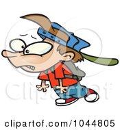 Royalty Free RF Clip Art Illustration Of A Cartoon School Boy Dragging His Foot