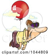 Royalty Free RF Clip Art Illustration Of A Cartoon Man Floating Through The Sky With A Balloon by toonaday