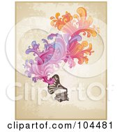 Royalty Free RF Clipart Illustration Of A Vintage Phonograph With Colorful Swirls Over Grungy Beige