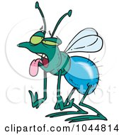 Royalty Free RF Clip Art Illustration Of A Cartoon Tired House Fly by toonaday