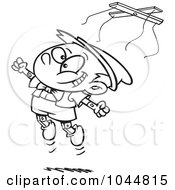 Royalty Free RF Clip Art Illustration Of A Cartoon Black And White Outline Design Of A Free Wooden Puppet Boy Jumping