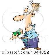 Royalty Free RF Clip Art Illustration Of A Cartoon Businessman Holding Fake Money