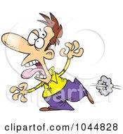 Royalty Free RF Clip Art Illustration Of A Cartoon Scared Man Running