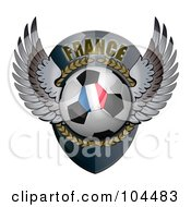 Royalty Free RF Clipart Illustration Of A Winged French Soccer Ball Crest