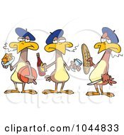 Royalty Free RF Clip Art Illustration Of Cartoon Three French Hens by toonaday