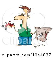 Royalty Free RF Clip Art Illustration Of A Cartoon Man Holding A Fragile Item And Mangled Box by toonaday