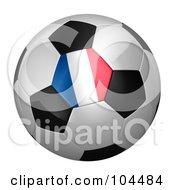 Royalty Free RF Clipart Illustration Of A 3d French Flag On A Traditional Soccer Ball