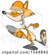 Royalty Free RF Clip Art Illustration Of A Cartoon Black And White Outline Design Of A Walking Fox by toonaday