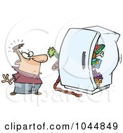 Royalty Free RF Clip Art Illustration Of A Cartoon Man Standing Before A Packed Refrigerator by toonaday