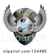Royalty Free RF Clipart Illustration Of A Winged Greece Soccer Ball Crest