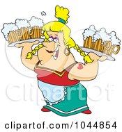 Cartoon Beer Maiden Carrying Trays