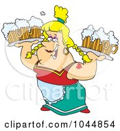 Royalty Free RF Clip Art Illustration Of A Cartoon Beer Maiden Carrying Trays