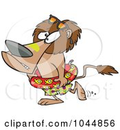 Royalty Free RF Clip Art Illustration Of A Cartoon Nervous Lion Wearing An Inner Tube