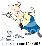 Royalty Free RF Clip Art Illustration Of A Cartoon Businessman Playing With Paper Planes by toonaday