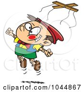 Royalty Free RF Clip Art Illustration Of A Cartoon Free Wooden Puppet Boy Jumping