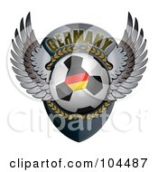 Royalty Free RF Clipart Illustration Of A Winged German Soccer Ball Crest by stockillustrations