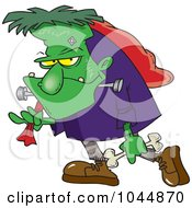Royalty Free RF Clip Art Illustration Of A Cartoon Frankenstein Carrying A Bag And Bone by toonaday