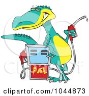 Royalty Free RF Clip Art Illustration Of A Cartoon Dinosaur Standing By A Gas Pump by toonaday