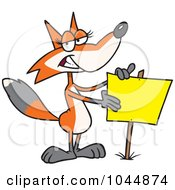Cartoon Fox Presenting A Blank Sign