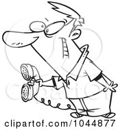 Royalty Free RF Clip Art Illustration Of A Cartoon Black And White Outline Design Of A Man Holding Out A Landline Phone