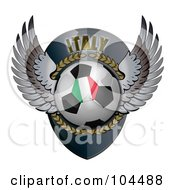 Royalty Free RF Clipart Illustration Of A Winged Italy Soccer Ball Crest