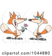 Royalty Free RF Clip Art Illustration Of A Cartoon Romantic Fox Giving His Mate A Flower by toonaday