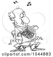 Royalty Free RF Clip Art Illustration Of A Cartoon Black And White Outline Design Of A Man Blowing Into A French Horn