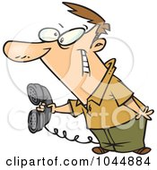 Royalty Free RF Clip Art Illustration Of A Cartoon Man Holding Out A Landline Phone